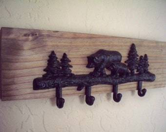 Bear hooks on wood,  rustic wood boards, cabin decor, lodge decor, home decor, wall decor.