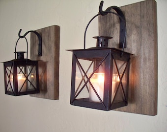 Rustic bathroom decor (2), lantern pair wall decor, wall sconces, housewarming gift, wrought iron hook, rustic wood boards