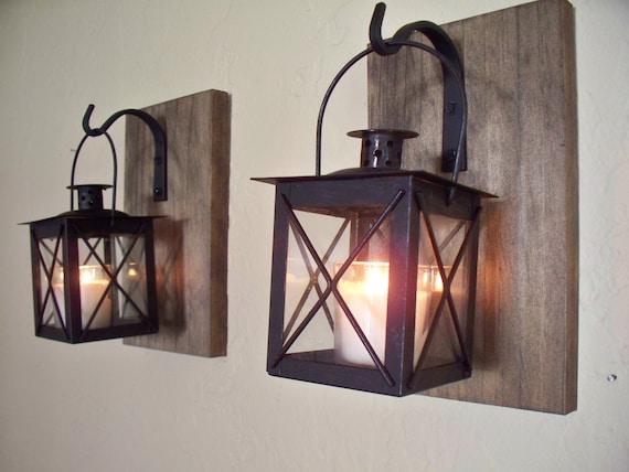 D cor de salle de bains rustique 2 paire de lanterne murale for Applique murale exterieure rustique