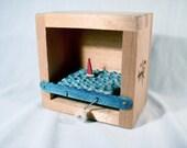 wood sake box, nautical decor, automaton, kinetic art, sailboat sculpture, man cave decor