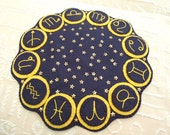 Hand Embroidered Navy Blue Candle Mat with Zodiac Signs and Gold Star Sequins