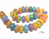 ISLAND BABIES Handmade Lampwork Beads - Purple Coral Blue Green Orange  - Teeny TINY Beads