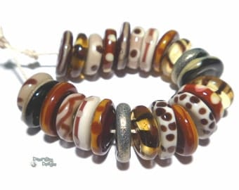 TRIBAL DISCS  Handmade Lampwork Beads Mix of Tan Ivory Black Brown Sienna - Warm Wild Colors