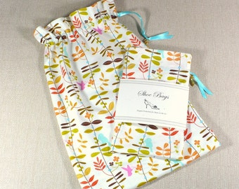 Travel Shoe Bags, cream, cocoa, red, leaves, birds, drawstring bags, lingerie