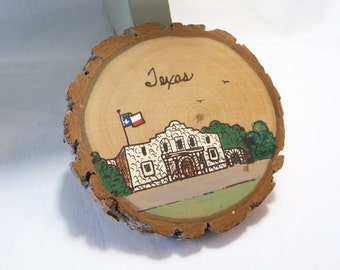 The Alamo Souvenir, San Antonio, Texas, tree piece, handpainted souvenir, Texas tree bark, Texas Sweetgum,vintage Souvenir,Texas flag,Unique