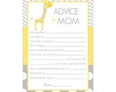Digital Printable Advice for Mom Cards with Giraffe in Yellow and Gray for Gender Neutral Baby Showers G048
