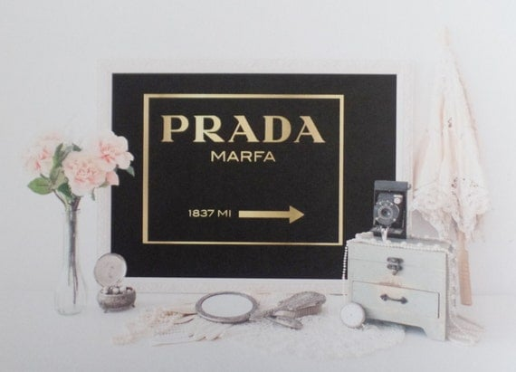 items similar to prada marfa wall art print real gold foil on etsy. Black Bedroom Furniture Sets. Home Design Ideas
