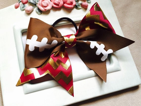 """Big 3"""" made to match FSU colors burgundy and gold chevron football Cheer Bow ponytail holder"""