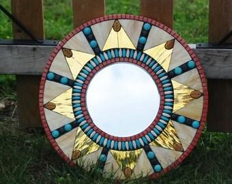 """Mirror, Mosaic, 18"""" Round, Sunburst"""