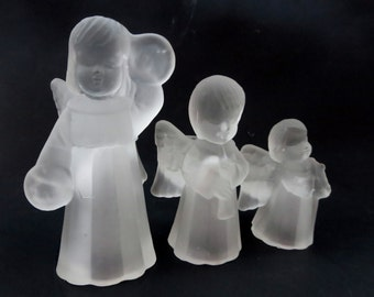 Vintage Angel Candle Holder Set - Frosted Glass  Taper Angel Candle Holders - Angels  Playing Musical Instruments Candle Holders