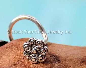 Silver Nose Stud / Unique Nose Ring /Tiny Flower Stud / Silver Nose Screw / Medusa's Locks Sterling Silver Nose Stud - CUSTOMIZE