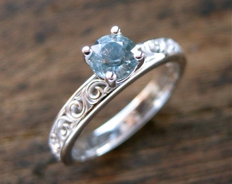 Azure Blue Montana Sapphire Engagement Ring in 18K White Gold in Setting with Scroll Motif Size 5