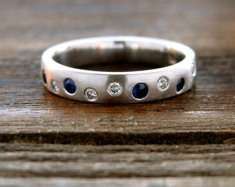 Blue Sapphire & Diamond Wedding Ring in 14K White Gold with Silky Smooth Satin Finish Size 6