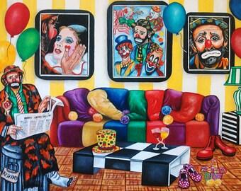 Art Print, Print, Clown Print, Clowns, Clown Art,  Fine Art Print, Original Art, Weary Willie