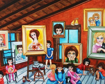 Print, Big Eyes Print, Margaret Keane Big Eyes, Kids Print, Giclee Print, Original Art, Margaret's Children