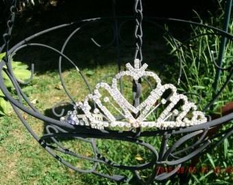 Vintage Tiara * Shabby Chic * Rhinestones *Heart*  Crown * Wedding * Bride