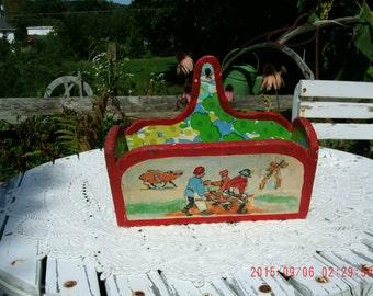 Vintage Primitive Cute Hand Painted Wooden Box *Cottage Charm*Farmhouse*Prairie Style Home