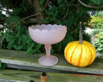 Vintage Shabby Cottage Pink Blush Fruit Bowl From Indiana Glass