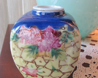 Vintage Chinese Raised Repousse Porcelain  Floral Jar / Vase /Urn Gold Gilted  design with Blues, Pinks Yellow