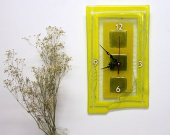 Fused glass Wall Clock - Yellow  tons painted clock