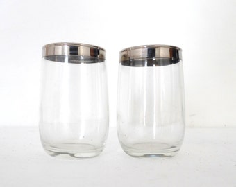Two Small Dorothy Thorpe Glasses / Roly Poly Silver Rim Juice, Highball Glass / Mad Men Drinking Cups / 4 Ounces / Vintage MCM Barware
