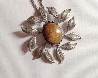 Vintage Leaf Pendant Necklace Silver Tone Metal