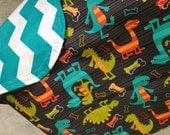 Baby Car Seat Canopy cover-Dinosaurs with Teal Large Chevron