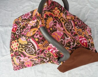 Car Seat Cover Canopy-READY TO SHIP-Brown Orange Flowers Car Seat Baby tent cover