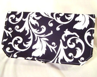 Coupon Organizer / Budget Organizer Holder - Attaches To Your Shopping Cart - Black with white Scrolls
