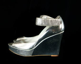 90's Grunge Platform Wedge Shoes Rave Silver Mirror Vintage Mary Janes Gwen 8 1/2