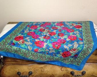Vintage Scarf Glentex Paisley Romantic Floral  Blue, Red, Fuschia, Green 1980s
