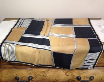 Vintage Vera Neumann Scarf Silk 1960s Graphic squares and lines Ladybug in Black White and Gold