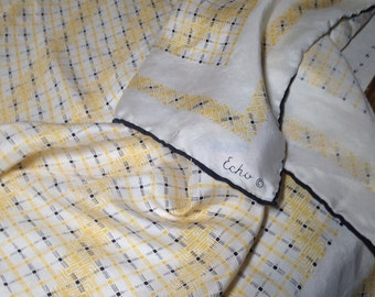 Stunning Vintage Silk ECHO SCARF Butter Yellow Ivory Black