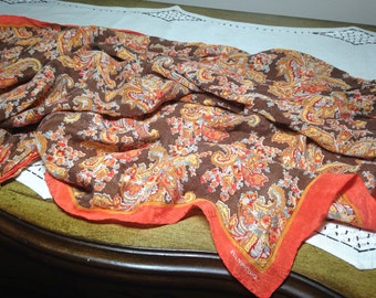 Vintage Scarf FALL PAISLEY Evan Picone Brown Orange