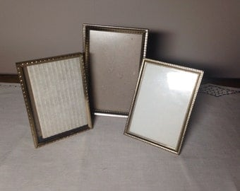 Vintage GOLD FRAME Collection 3 Small Metal, Wedding, Lot Frames 3.5x5, 4x6