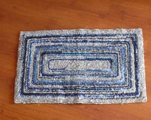 Cool Baby Blues and Soft Warm Grey Recycled Locker Hook Rug