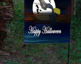 Halloween witch in ocean moonlight Garden Flag from art