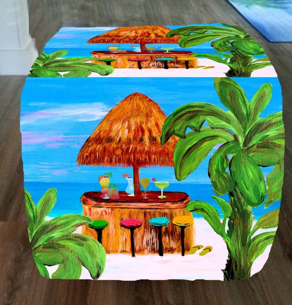 Beach Tiki Bar Beach Cube Ottoman From My Art