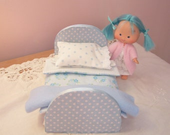 Sweet Little Blue Bed  for Vintage Strawberry Shortcake Doll, Mini Blythe, or Other Dolls of This Size