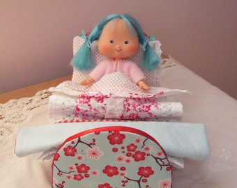 Darling Little Blue and Red Bed for Vintage or New Strawberry Shortcake Dolls, Mini Blythe, or Other Dolls of This Size