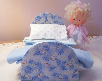 Sweet Little Blue Bed  for Vintage or New Strawberry Shortcake Doll, Mini Blythe, or Other Dolls of This Size