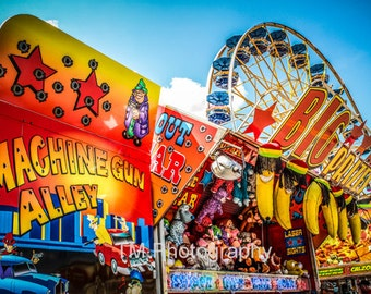 State Fair - Midway - Circus - Summer Fun - Colorful - County Fair - Ferris Wheel - Fine Art Phtography