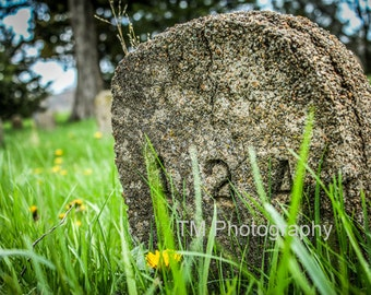 Grave Stone - Grave Marker - Tombstone - Old Tombstone - Old Grave Marker - Deserted Grave Marker -  124