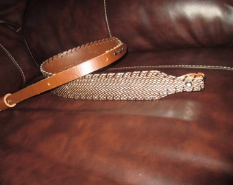 Banded Spitting Cobra Rifle Sling in Brown Leather