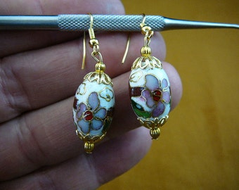 White with pink flower 12x18 mm oval Cloisonne bead with gold tone filigree cap accents dangle earring pair EE-603-131
