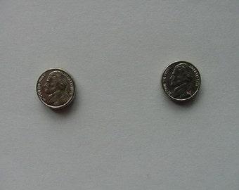 miniature U.S. Jefferson Nickel 20th century mini token coin stud pierced Earrings  EE-761