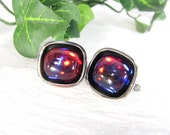 Vintage HICKOK DRAGONS BREATH Glass Opal Iridescent Cabs Cufflinks Silver Tone