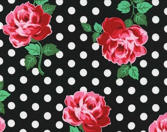 Michael Miller Fabric Retro Florals Lucy Black