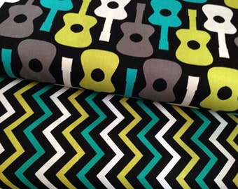 Michael Miller Fabric Duo Groovy Guitar and Mini chic chevron lagoon 2 yards total