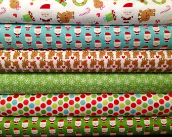 Fat Quarter Bundle Riley Blake Fabric Christmas Santa Express